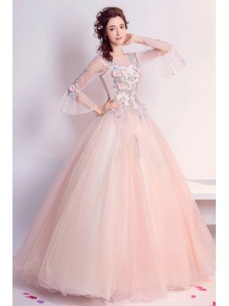 Pink Ball-gown Scoop Neck Floor-length Tulle Wedding Dress With Beading