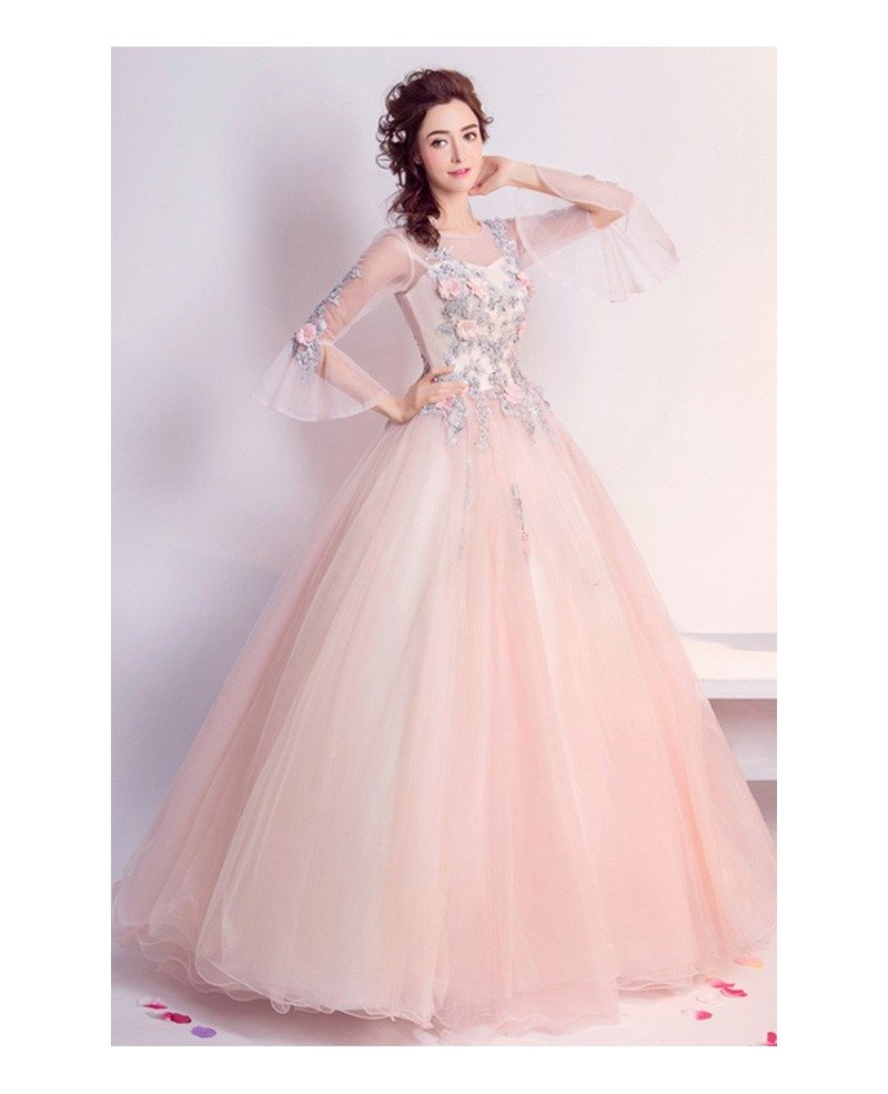 Pink Ball-gown Scoop Neck Floor-length Tulle Wedding Dress With ...