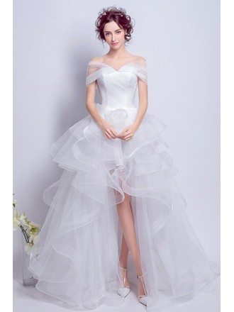Simple High Low Off-the-shoulder Tulle Wedding Dress
