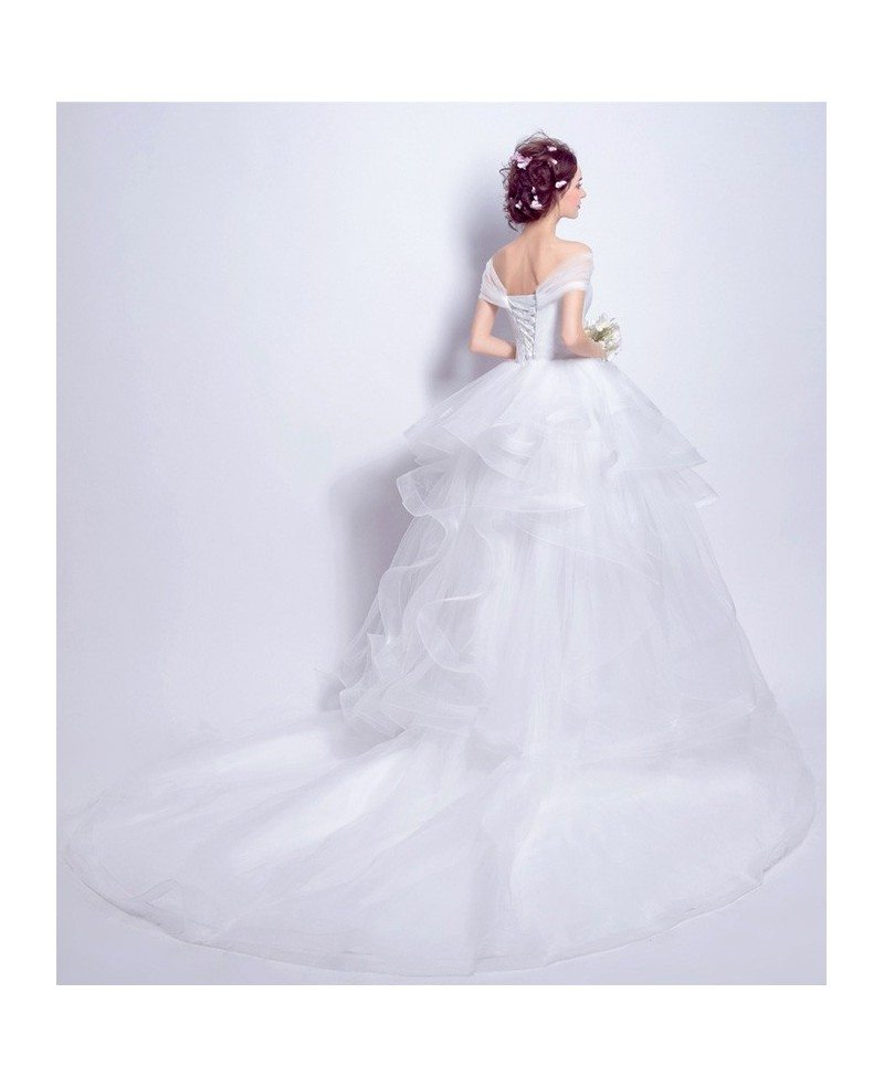 Off shoulder high low wedding dresses with train tulle for Tulle high low wedding dress