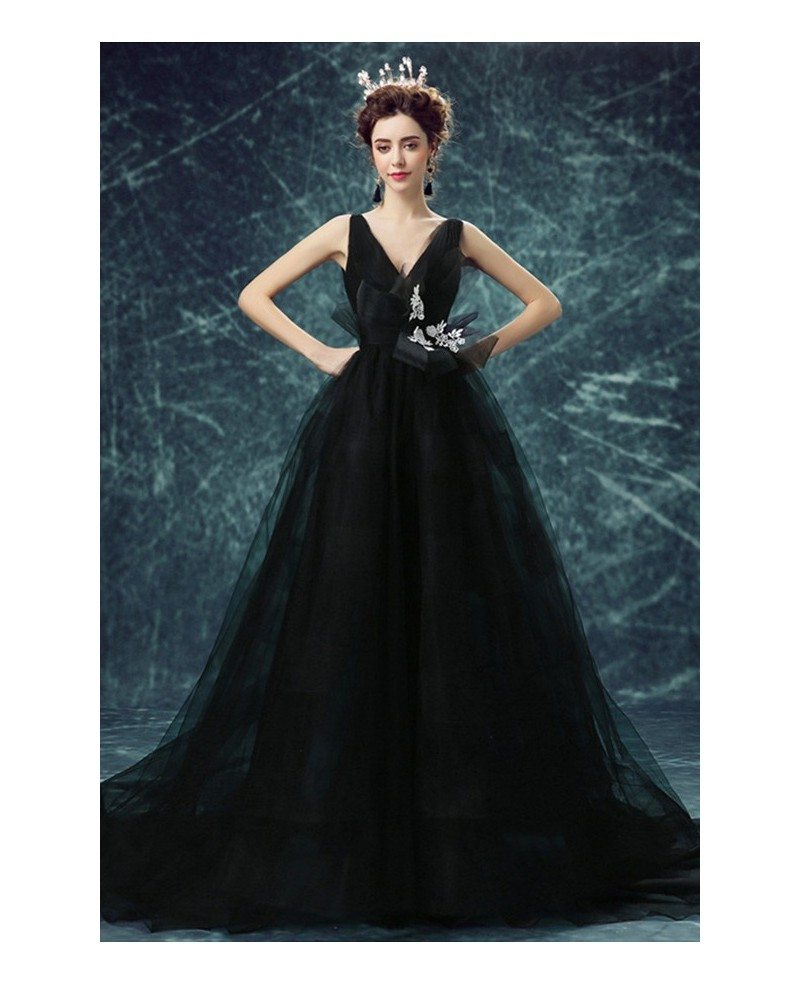 Black Ball-gown V-neck Court Train Tulle Wedding Dress With Open ...