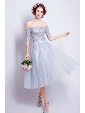 Romantic A-line Off-the-shoulder Tea-length Tulle Formal Dress With Lace