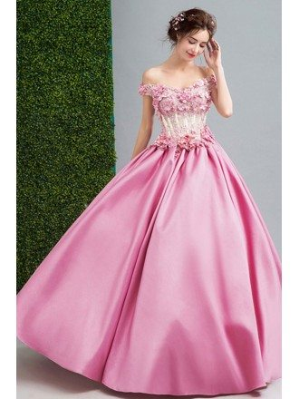 Pink Ball-gown Off-the-shoulder Floor-length Satin Wedding Dress With Beading