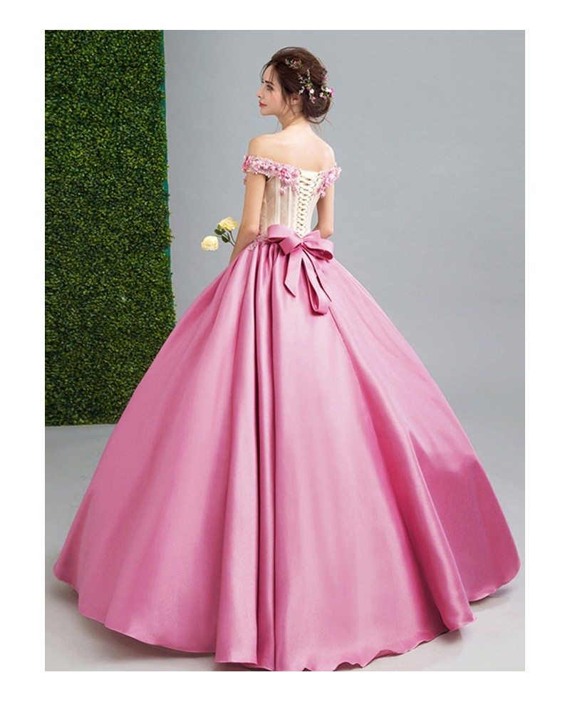 Pink ball gown off the shoulder floor length satin wedding for Off the shoulder satin wedding dress
