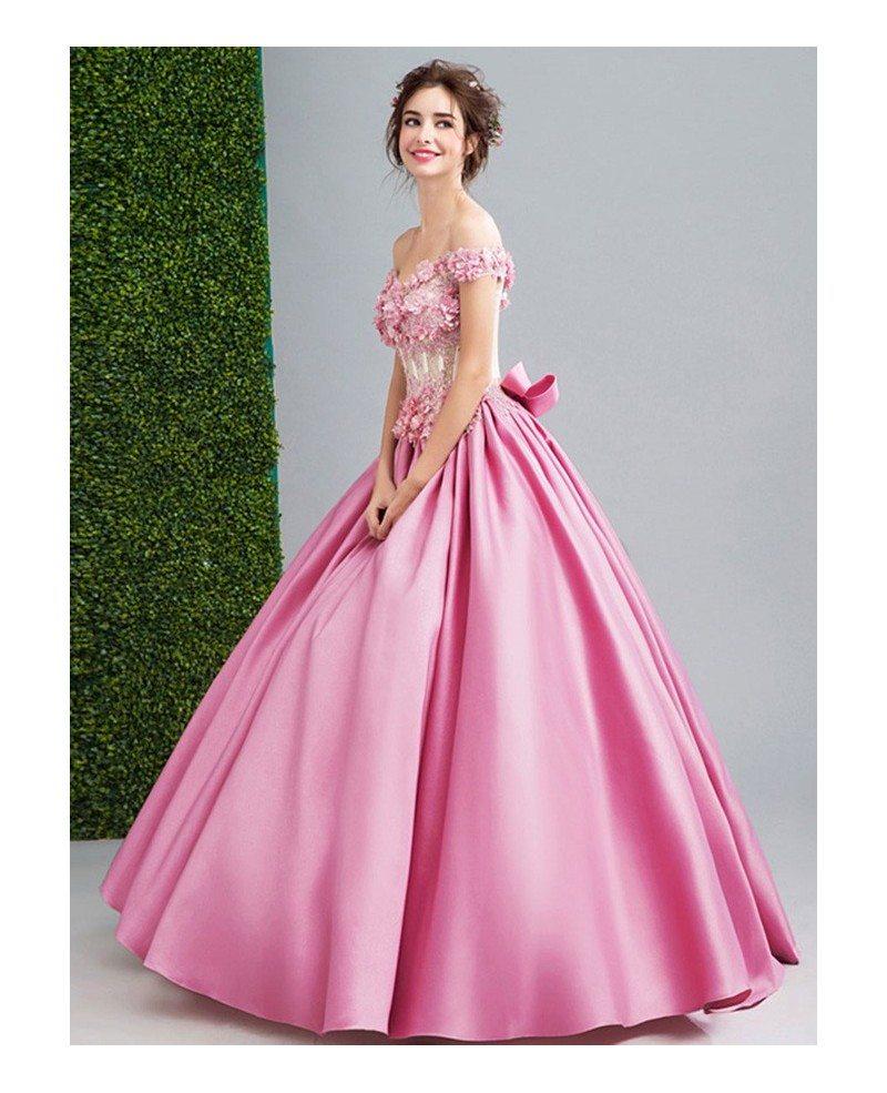 Pink Ball-gown Off-the-shoulder Floor-length Satin Wedding Dress ...