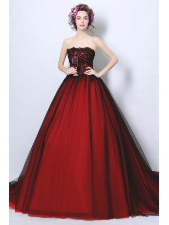 Goth Ball-gown Strapless Cathedral Train Tulle Wedding Dress With Appliques Lace