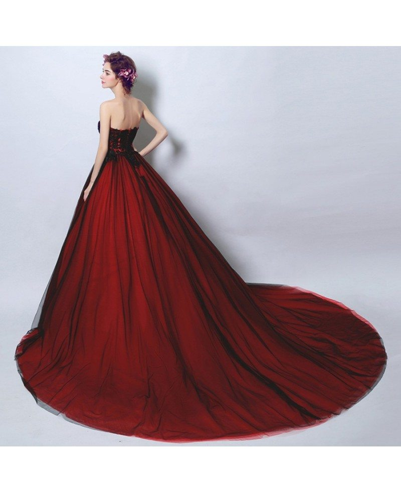 Goth Ball-gown Strapless Cathedral Train Tulle Wedding Dress With ...