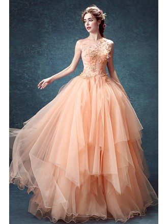 Peach Ball-gown High Neck Floor-length Tulle Wedding Dress With Flowers