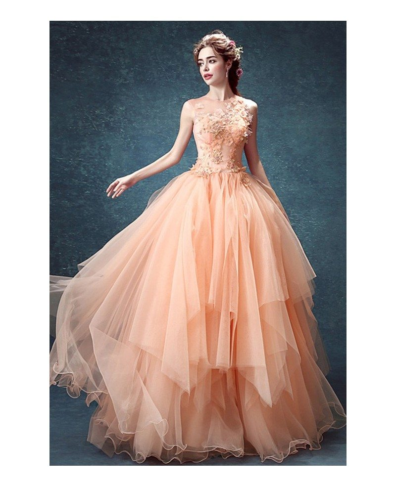 Peach Ball-gown High Neck Floor-length Tulle Wedding Dress With ...