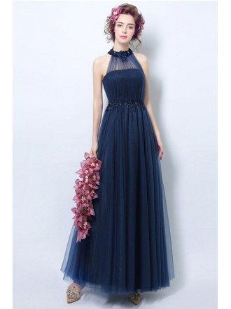 Navy A-line Halter Floor-length Bridesmaid Dress With Appliques Lace