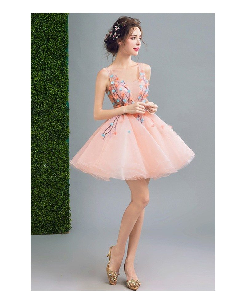 Peach Ball-gown Scoop Neck Short Organza Formal Dress With Flowers ...