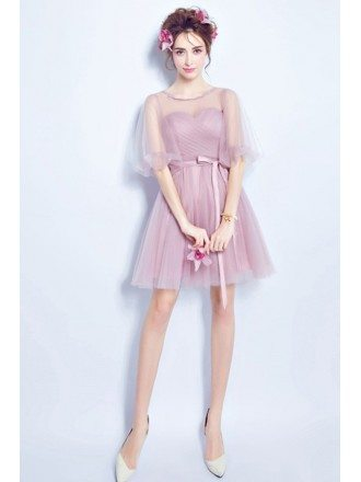 Pink A-line Scoop Neck Bridesmaid Dress With Sleeves