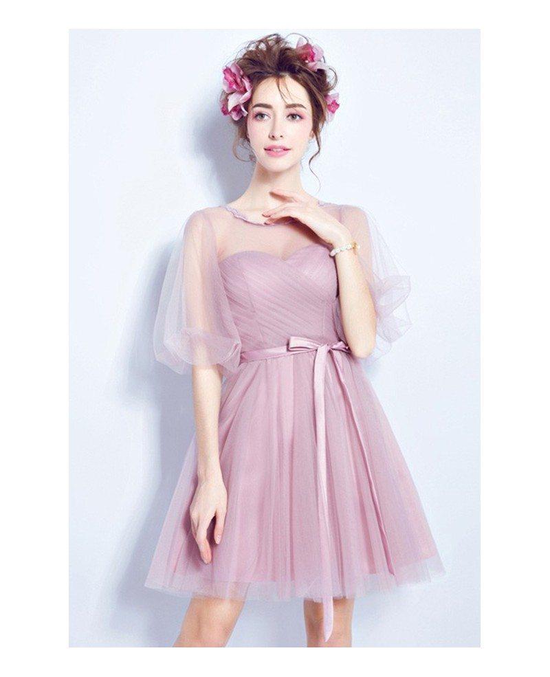 pink aline scoop neck bridesmaid dress with sleeves