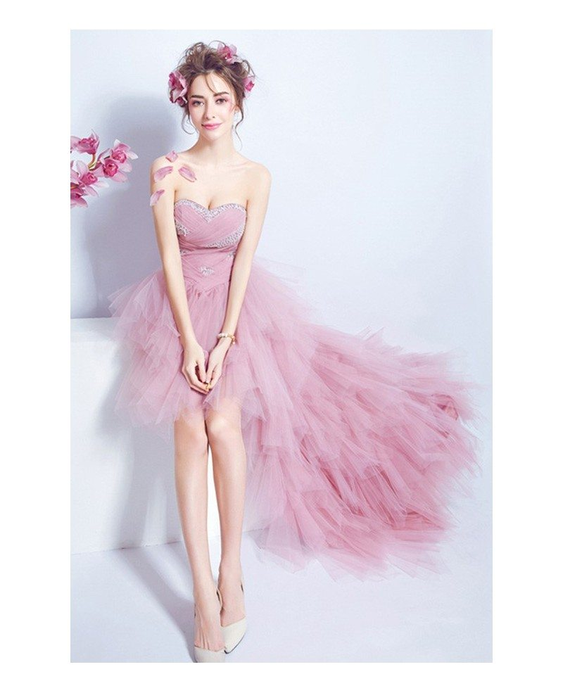 Pink A-line Sweetheart High Low Formal Dress With Sequins #TJ032 ...