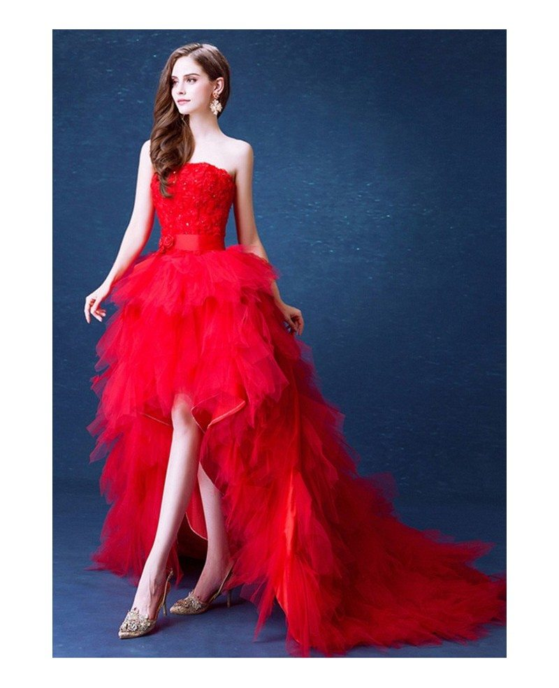 Poofy Red High Low Wedding Dresses With Train Ruffles Strapless ...