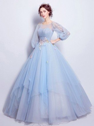 Blue Ball-gown Scoop Neck Floor-length Wedding Dress With Flowers