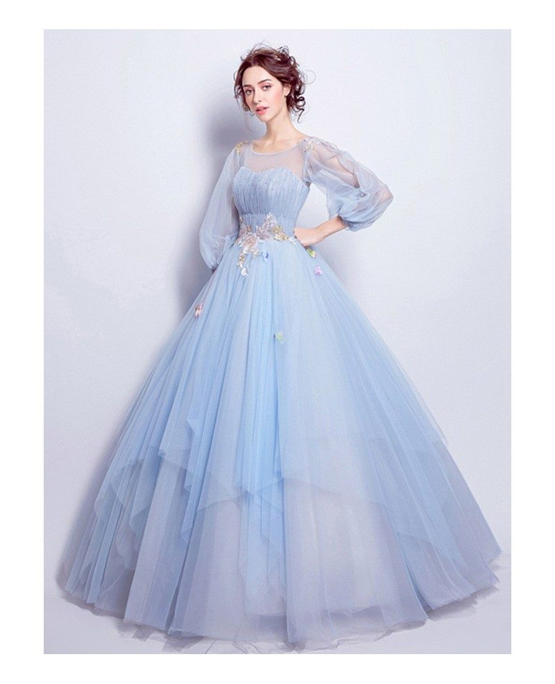 Blue ball gown scoop neck floor length wedding dress with for Wedding dress made of flowers