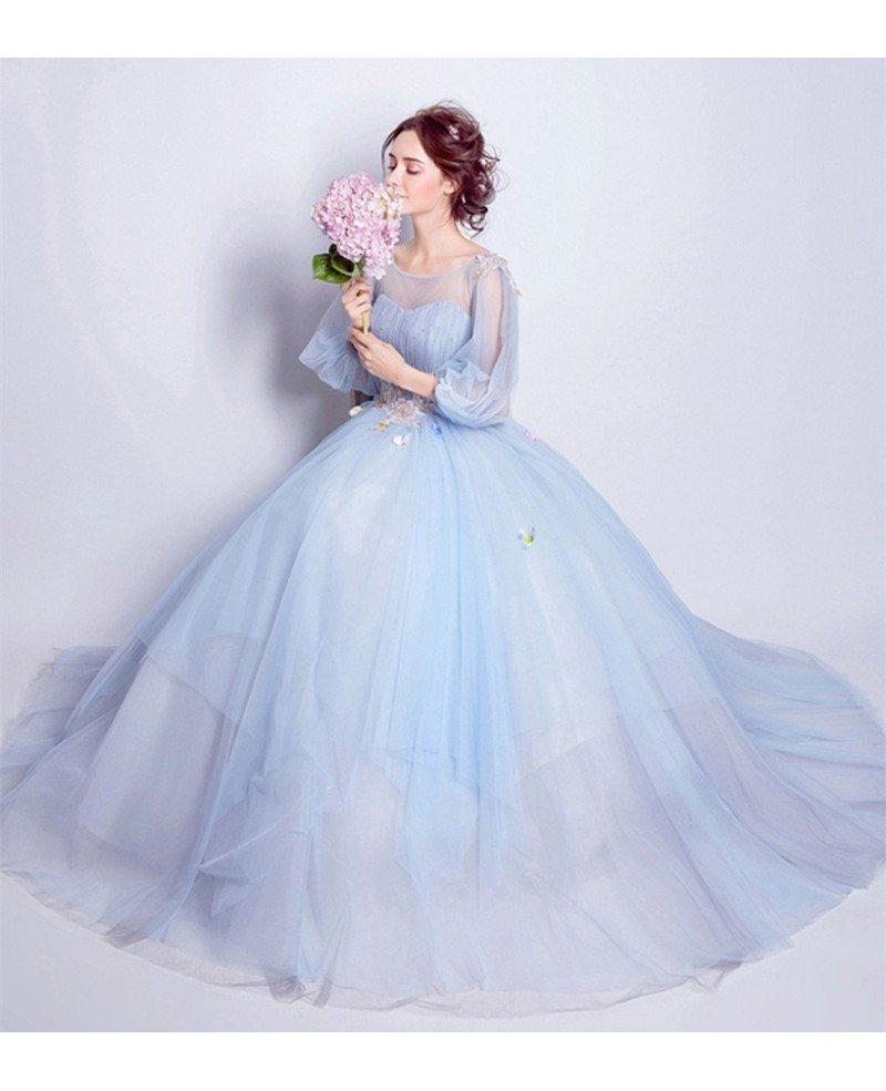 Blue Ball-gown Scoop Neck Floor-length Wedding Dress With