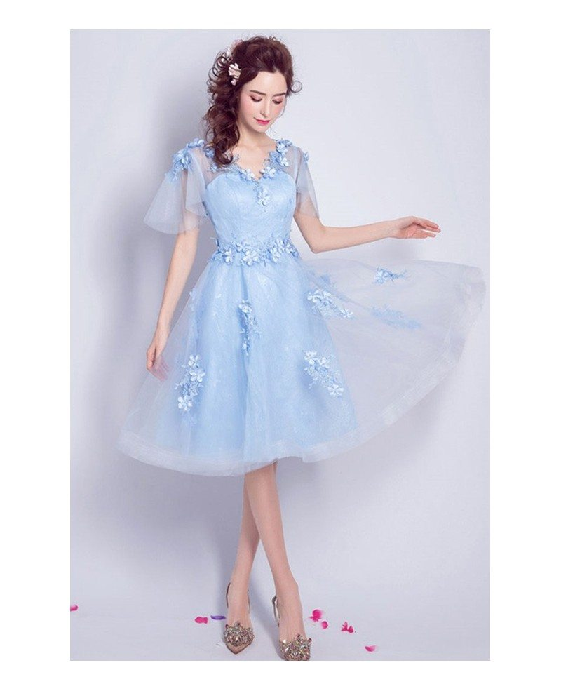 Elegant Blue Knee Length Tulle Homecoming Dress Flowy A