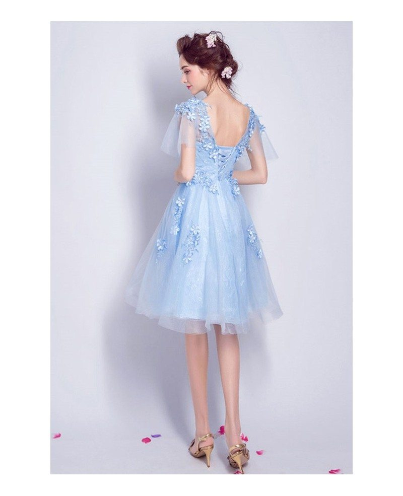 Elegant Blue Knee Length Tulle Homecoming Dress Flowy A ...