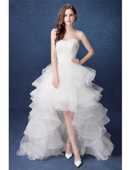 2017 country high low wedding dresses with train ruffles for Wedding dress high low