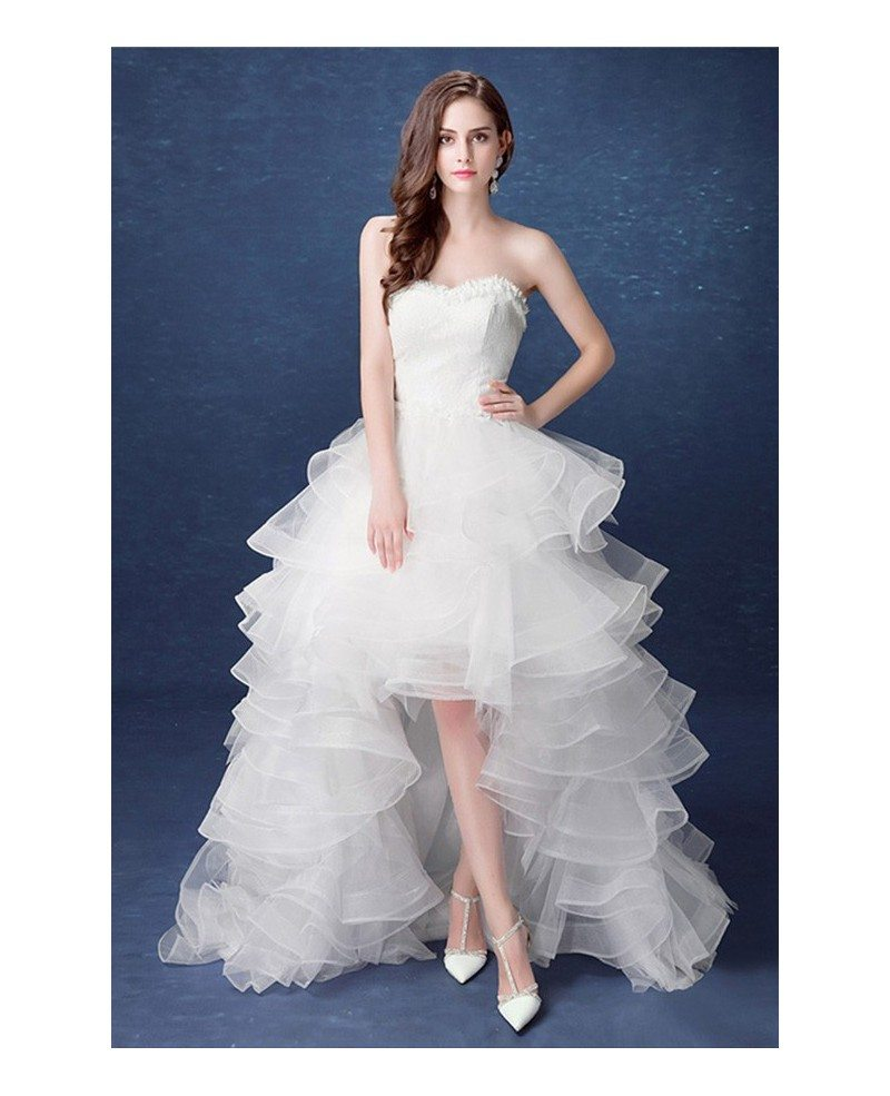 2017 country high low wedding dresses with train ruffles for Wedding dresses with ruffles