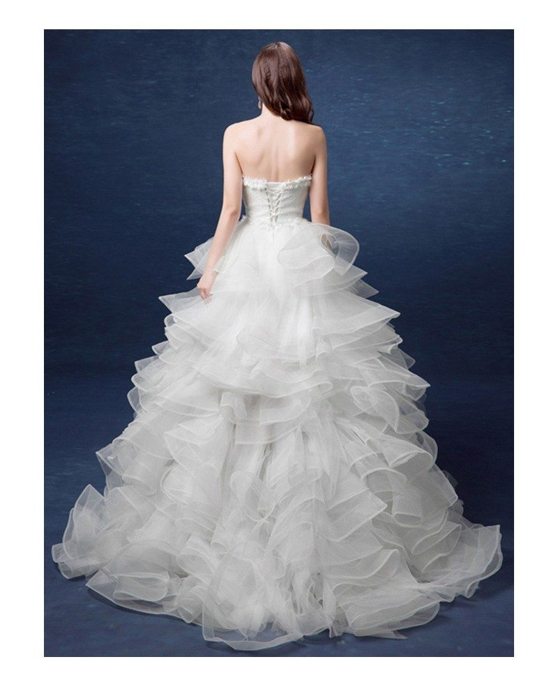 2017 country high low wedding dresses with train ruffles ForHigh Low Ball Gown Wedding Dress
