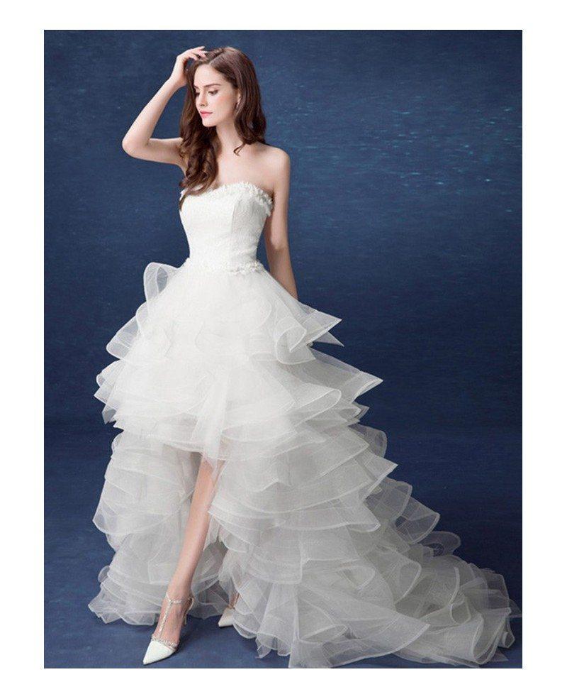 Hi Low Wedding Dress: 2017 Country High Low Wedding Dresses With Train Ruffles