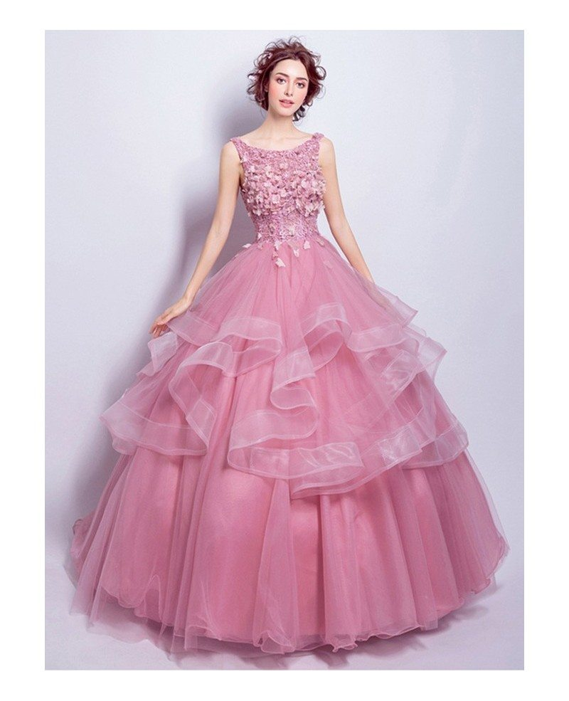 Pink Wedding Ball Gowns: Pink Ball-gown Scoop Neck Floor-length Tulle Wedding Dress