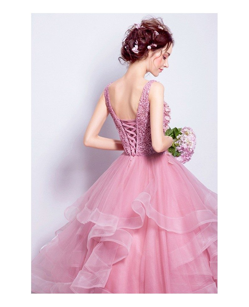 Tulle Ball Gown Wedding Dress: Pink Ball-gown Scoop Neck Floor-length Tulle Wedding Dress