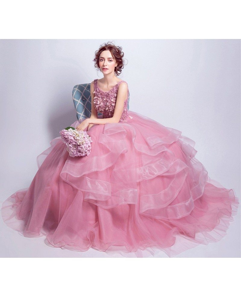 Pink Ball-gown Scoop Neck Floor-length Tulle Wedding Dress