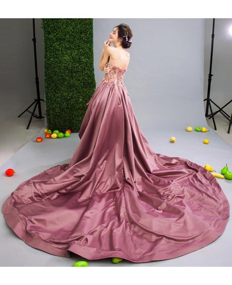 Luxurious ball gown sweetheart high low wedding dress with for High low sweetheart wedding dress