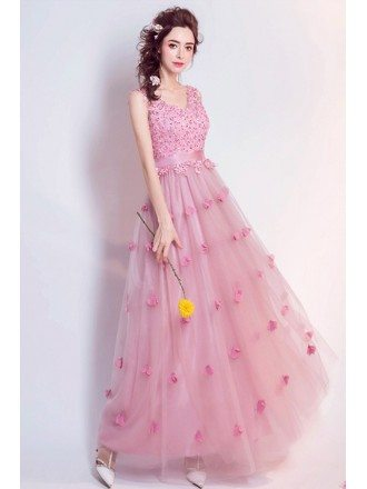 Romantic A-line V-neck Floor-length Tulle Wedding Dress With Flowers