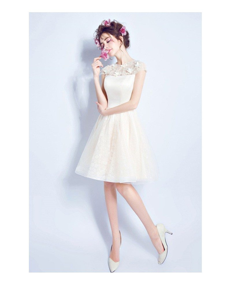 Modest champagne short wedding dresses cap sleeves a line for Knee high wedding dresses