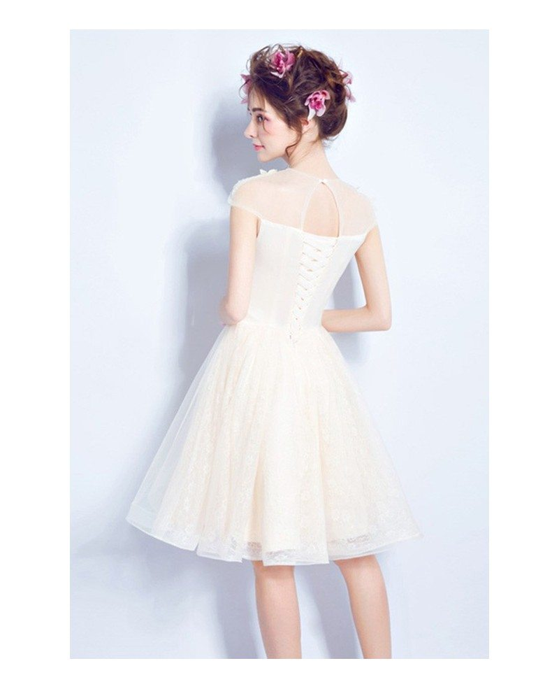 Modest champagne short wedding dresses cap sleeves a line for Wedding dress knee length with sleeves