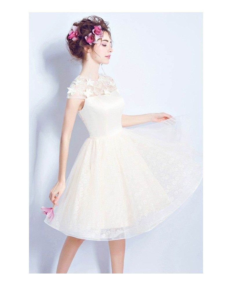 Modest champagne short wedding dresses cap sleeves a line for Knee length wedding dresses with sleeves