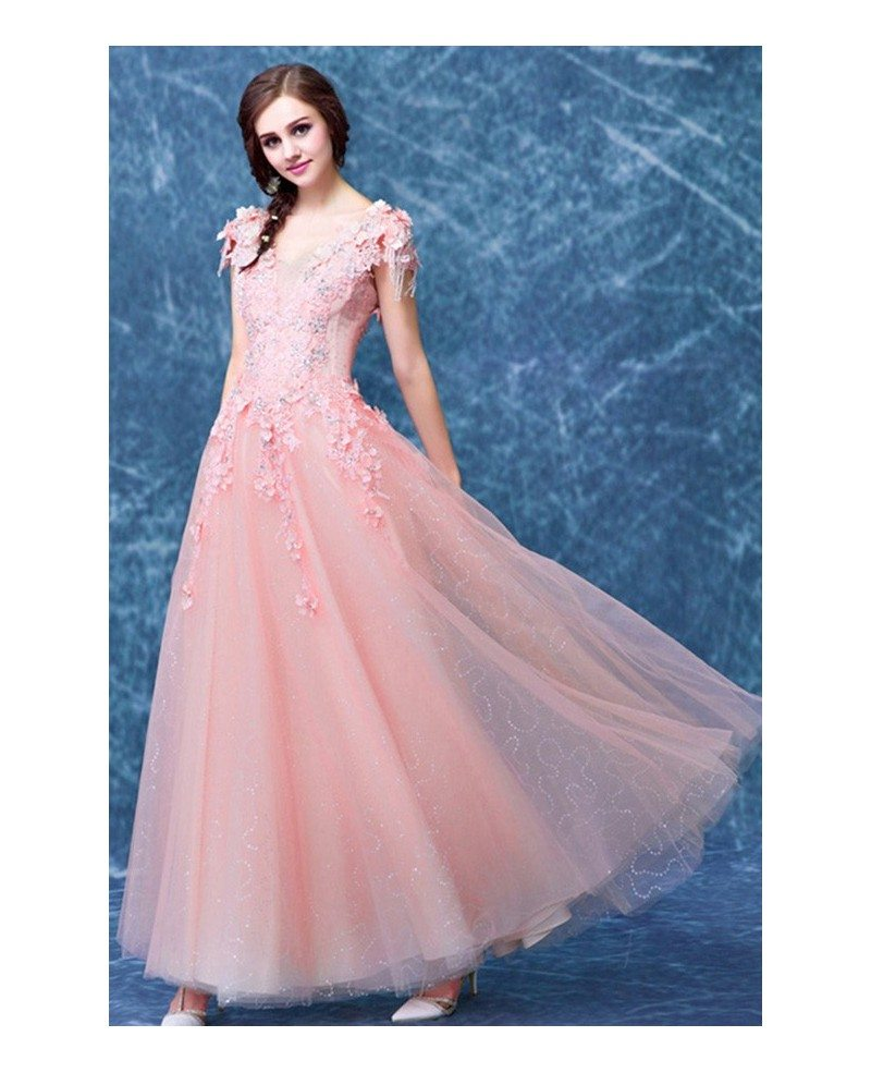 Pink A-line V-neck Floor-length Tulle Wedding Dress With