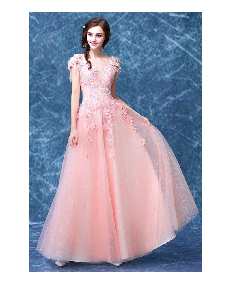 Pink a line v neck floor length tulle wedding dress with for Tulle a line wedding dress