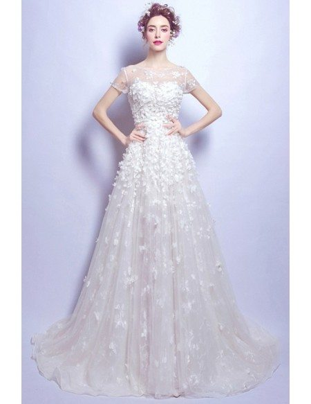 Gorgeous Ball-gown Scoop Neck Court Train Tulle Wedding Dress With ...
