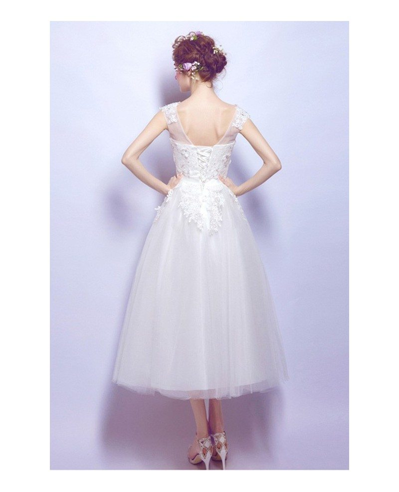 Tulle Tea Length Wedding Dresses A Line With Sleeves Scoop