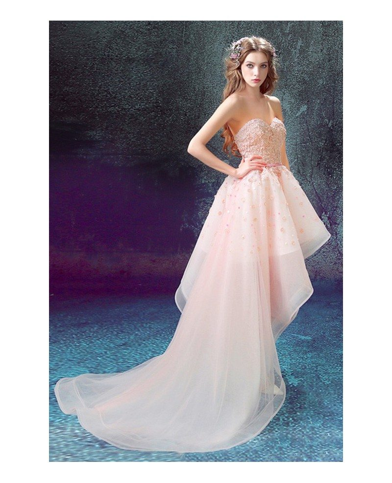 Pink Ball-gown Sweetheart High Low Prom Dress With Flowers #TJ048 ...