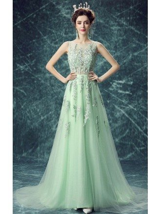 Green A-line Scoop Neck Floor-length Tulle Wedding Dress With Appliques Lace