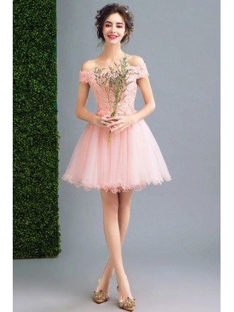 Pink A-line Off-the-shoulder Short Tulle Formal Dress With Appliques Lace