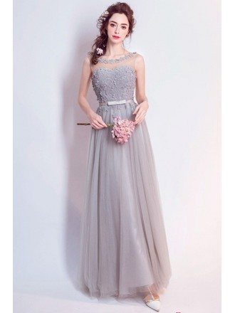 Grey A-line Scoop Neck Floor-length Tulle Formal Dress With Flowers