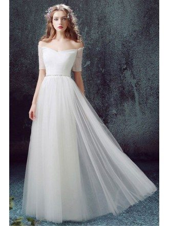 simple a line off the shoulder floor length tulle wedding dress with