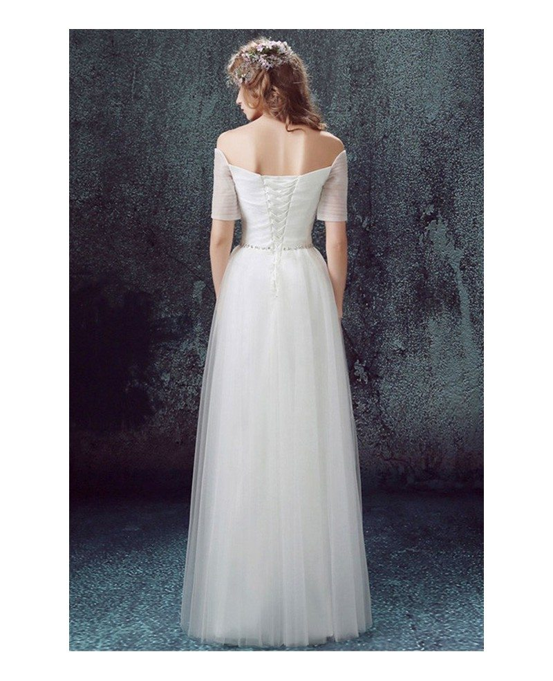 Simple a line off the shoulder floor length tulle wedding for Mid length wedding dress