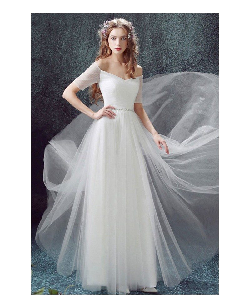Simple A-line Off-the-shoulder Floor-length Tulle Wedding