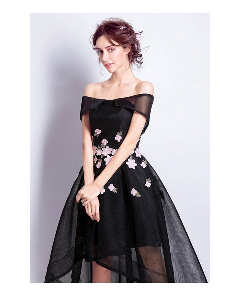 Black A-line Off-the-shoulder High Low Tulle Formal Dress With ...