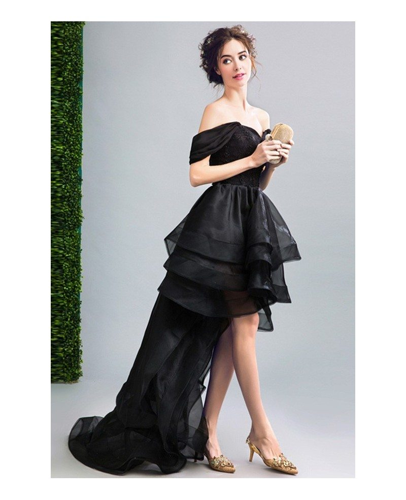 Black Ball-gown Off-the-shoulder High Low Organza Formal Dress ...