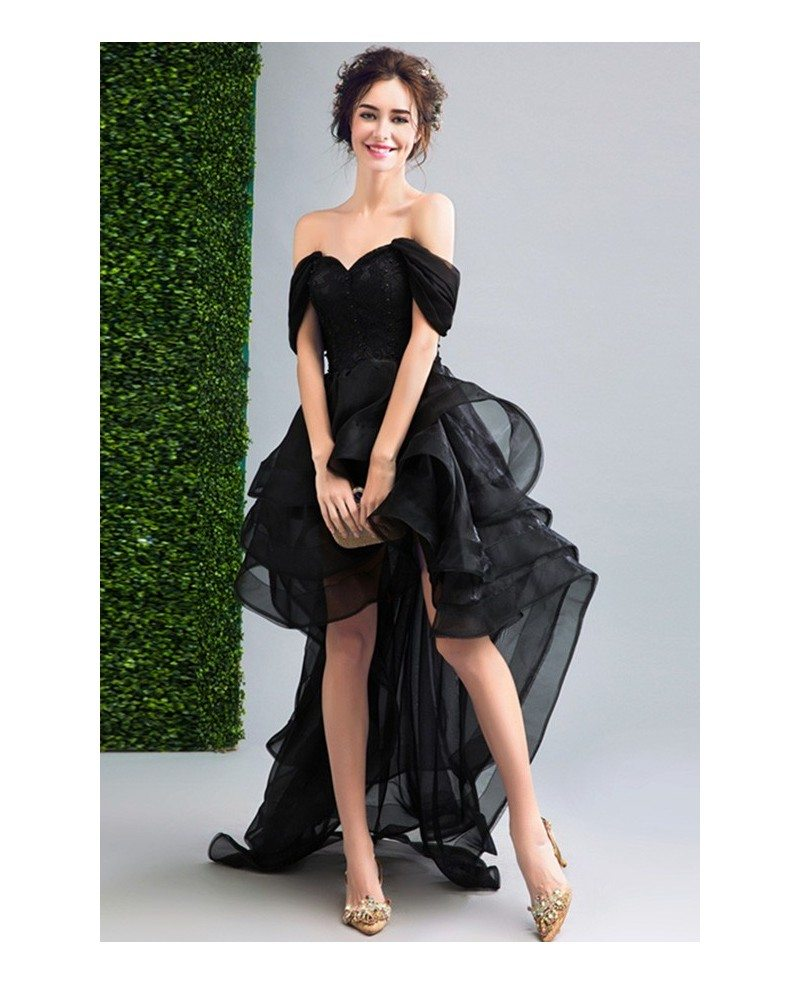 Black Ball-gown Off-the-shoulder High Low Organza Formal Dress With ...